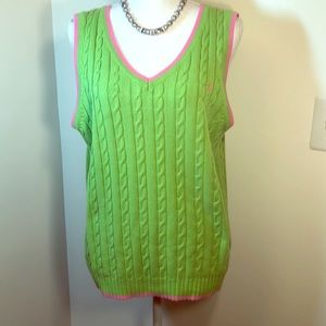 Lillie Pulitzer Cable Knit Grn Vest w/Pink Trim XL